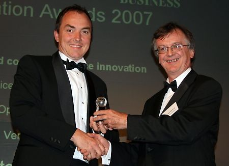 Matthew Finnie - Interoute CTO - receiving the award from Global Telecoms Business editor Alan Burkitt Gray
